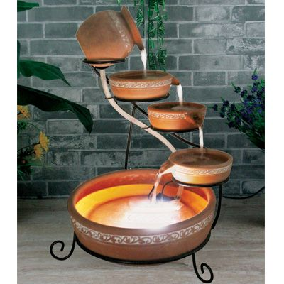 Terracotta Solar Water Feature Cascade with LED