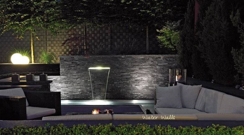 water wall in contemporary garden