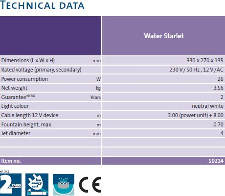 oase water starlet technical data