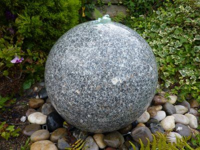 polished granite sphere water feature