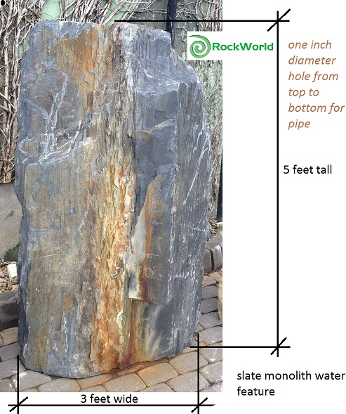 slate monolith water feature fountain